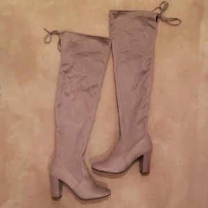 """Taupe Suede Thigh High Boots ~ 4"""" - Size 9"""